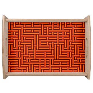 Plateau tubes 3D oranges tissés métalliques servant le