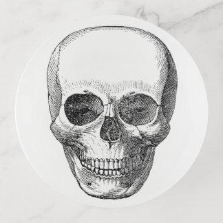 Plateau vintage de bibelot de crâne