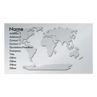 Platine de carte de visite de carte du monde