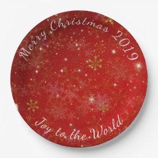 Plats datés rouges de partie de Joyeux Noël de Assiettes En Papier