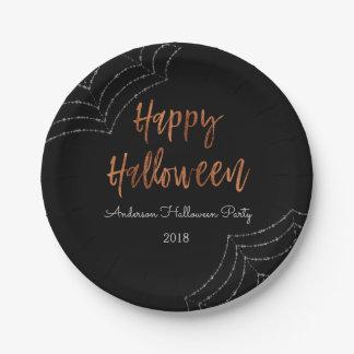 Plats modernes de Halloween de partie heureuse de Assiettes En Papier