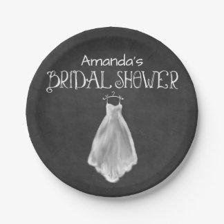 Plats nuptiales de douche de robe de mariage de assiettes en papier