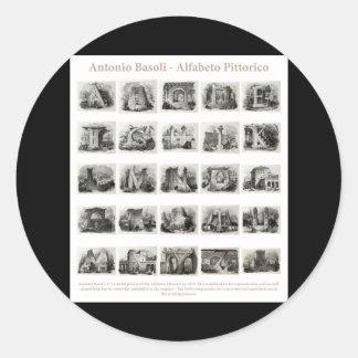Plein ensemble d information d Antonio Basoli Alfa Autocollants Ronds