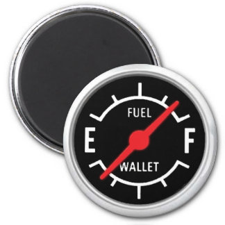 Plein réservoir, portefeuille vide magnet rond 8 cm