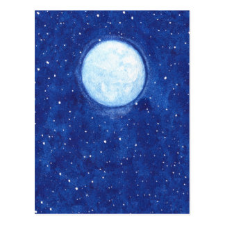 Pleine lune d'aquarelle carte postale