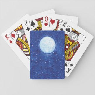 Pleine lune d'aquarelle jeux de cartes