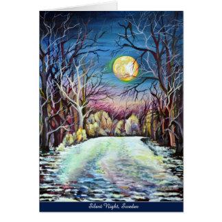 Pleine lune d'hiver silencieux de nuit cartes
