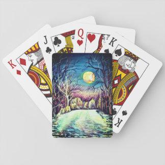 Pleine lune d'hiver silencieux de nuit jeu de cartes