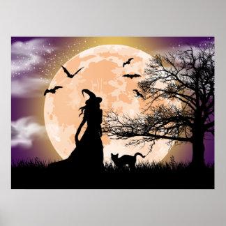 Pleine lune mystique de sorcière et de chat posters