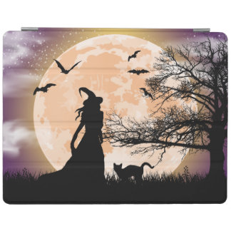 Pleine lune mystique de sorcière et de chat protection iPad