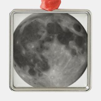 Pleine lune ornement carré argenté