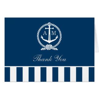 Plié épouser le Merci note les rayures nautiques Carte De Correspondance