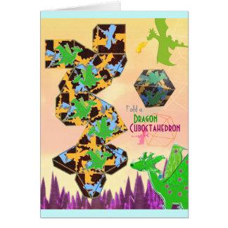 Pliez un métier de motif de dragon de carte de vœux
