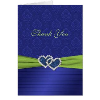 Plis de bleu royal et carte de remerciements