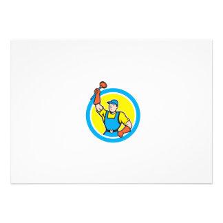 Plombier superbe avec la bande dessinée de cercle invitations personnalisées