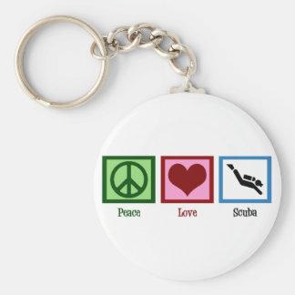 Plongée à l'air d'amour de paix porte-clé rond