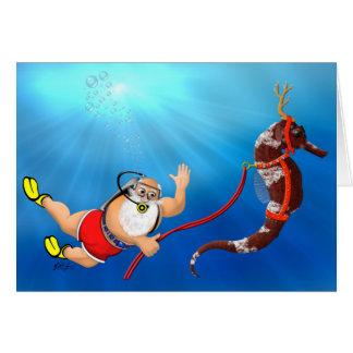 Plongée à l'air Père Noël et carte de Noël