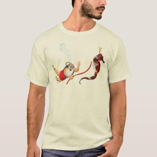 Plongée à l'air Père Noël et T-shirt d'hippocampe