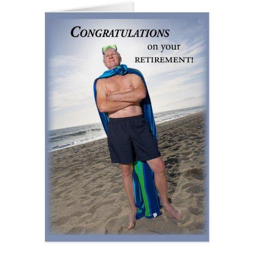 Plongeon humoristique de la retraite 3657 carte de vœux
