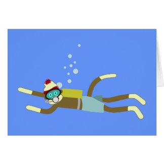Plongeur autonome de singe de chaussette cartes
