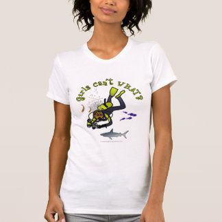 Plongeur autonome foncé de femme t-shirt