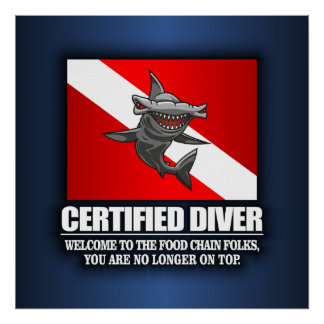 Plongeur certifié (chaîne alimentaire) posters