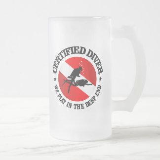 Plongeur certifié (extrémité profonde) frosted glass beer mug
