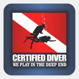 Plongeur certifié (extrémité profonde) sticker carré