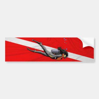 Plongeur et drapeau froissé de piqué autocollant de voiture