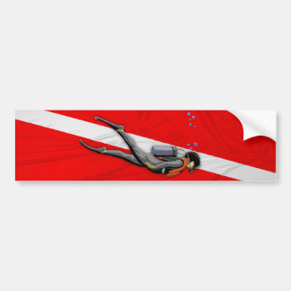Plongeur et drapeau froissé de piqué autocollant pour voiture