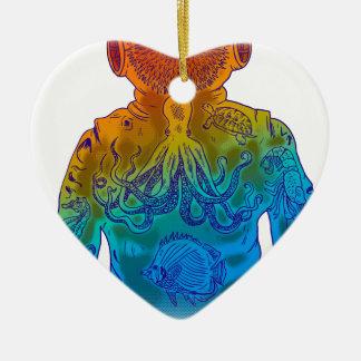 Plongeur Ornement Cœur En Céramique