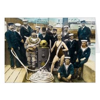 Plongeur vintage de masque de l'exposition 1891 carte de vœux
