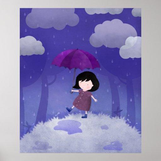 Pluie sur mon parapluie - copies de toile affiches