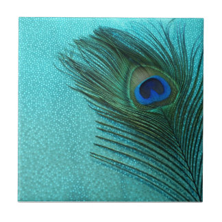 Plume bleue de paon d'Aqua métallique Petit Carreau Carré