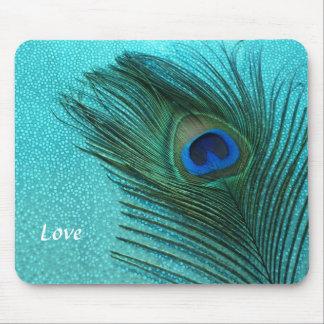 Plume bleue de paon d'Aqua métallique Tapis De Souris