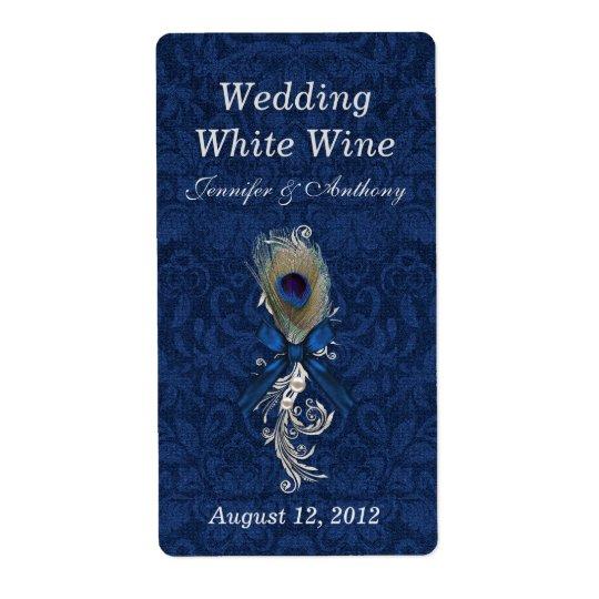 Plume de damassé et de paon épousant le mini vin étiquettes d'expédition
