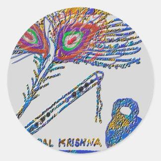 Plume de paon et cannelure - lièvre Krishna Sticker Rond