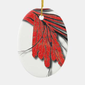plume d'oiseau rouge ornement ovale en céramique