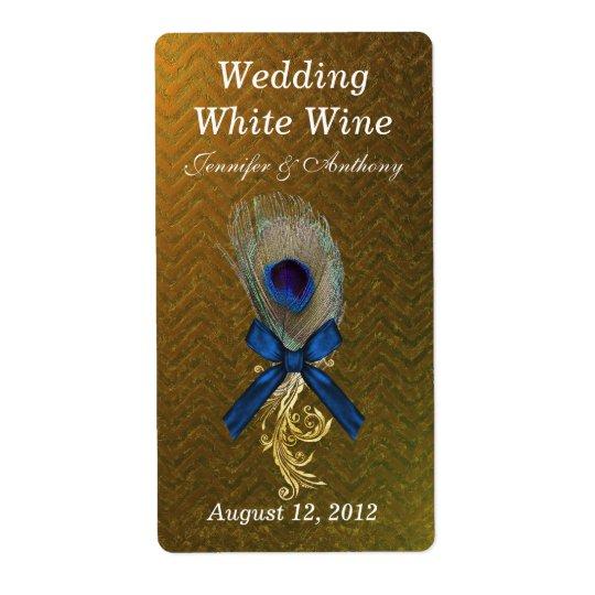 Plume d'or de paon de Chevron épousant le mini vin Étiquettes D'expédition