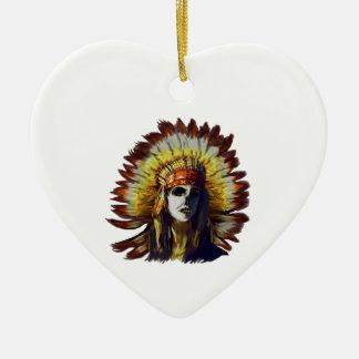Plume jaune ornement cœur en céramique