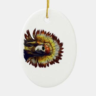 Plume jaune ornement ovale en céramique
