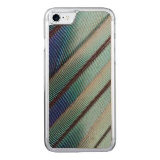 Plume lilas bleue de rouleau de Breasted Coque Iphone 7 En Bois