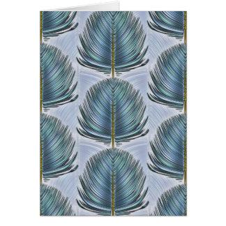 Plume stylisée de paon - bleu carte de vœux