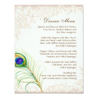 Plume vintage de paon de menu de dîner de mariage invitations personnalisées