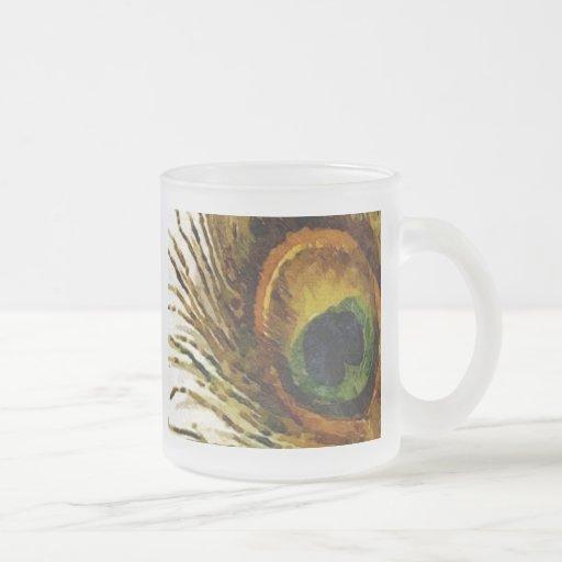 Plume vintage de paon tasse à café