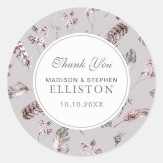 Plume vintage et Merci floral du motif   Sticker Rond
