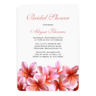 Plumeria tropical de douche nuptiale florale rose carton d'invitation  12,7 cm x 17,78 cm
