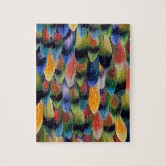 Plumes colorées de perroquet de perruche puzzle