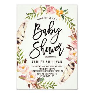 Plumes de Bohème et baby shower floral de Carton D'invitation 12,7 Cm X 17,78 Cm