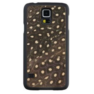 Plumes de Guineafowl repérées par noir Coque Slim Galaxy S5 En Érable